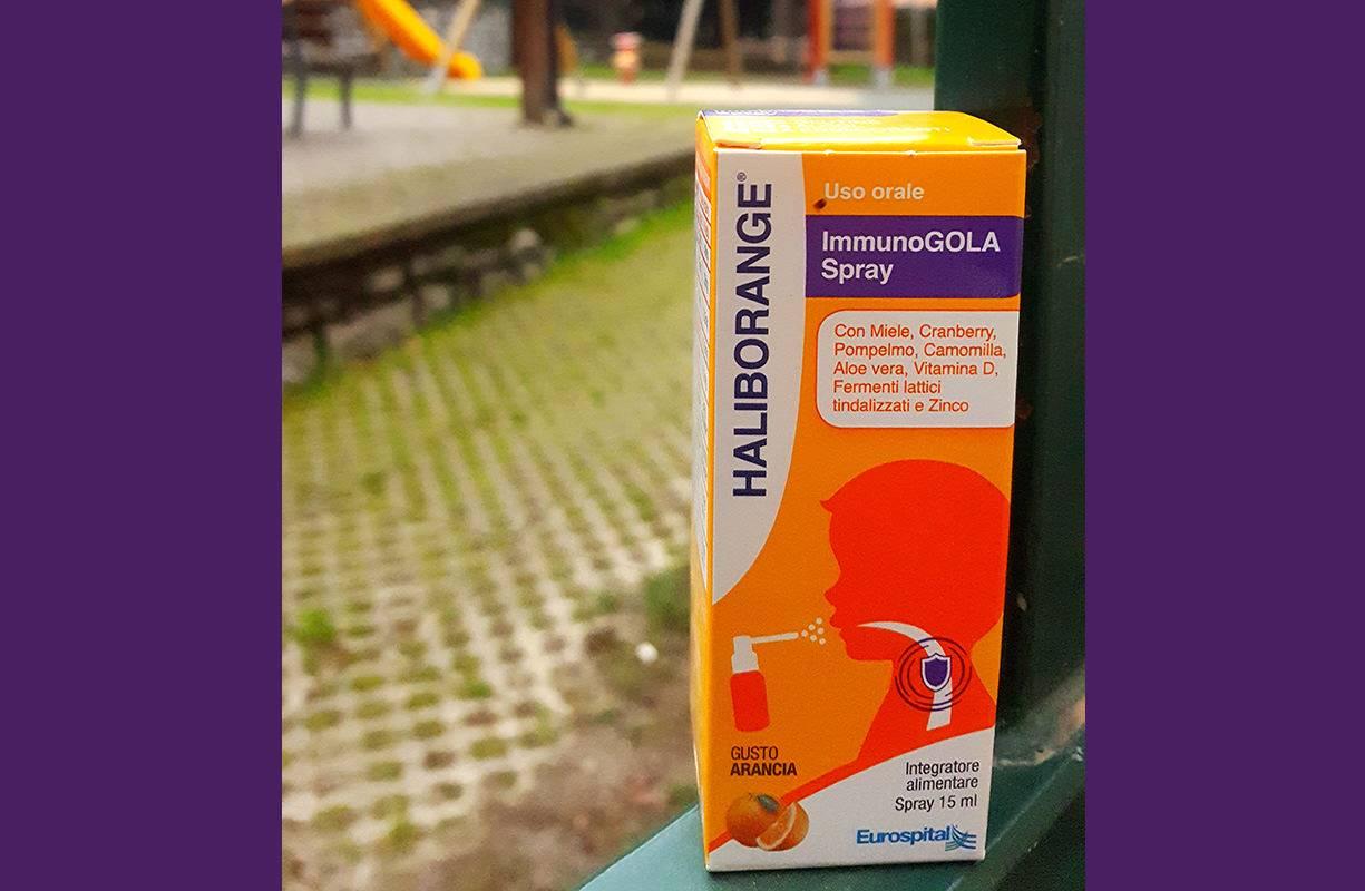 Spray per uso orale al buon gusto d'arancia dedicato ai bambini dai 3 anni in su