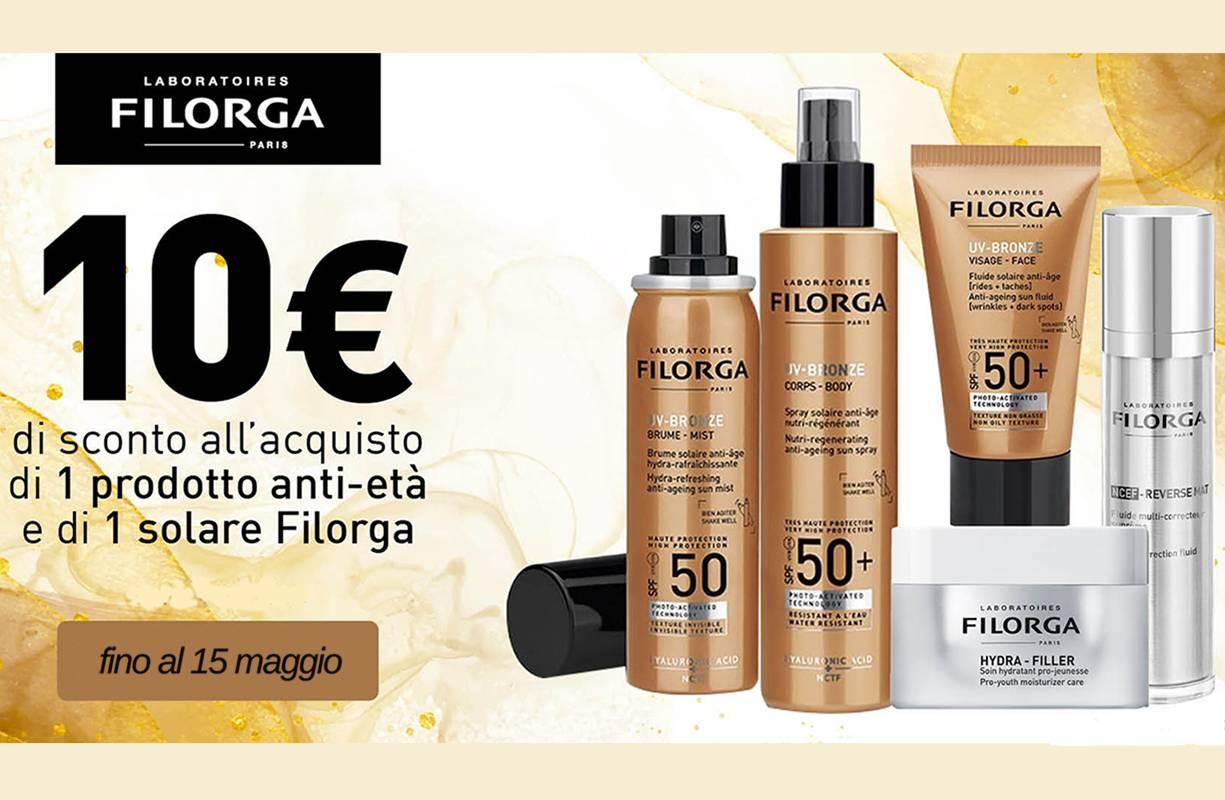 Fino al 15 MAGGIO - Promozione FILORGA -10€ all'acquisto contestuale di 1 prodotto viso e 1 UV-BRONZE