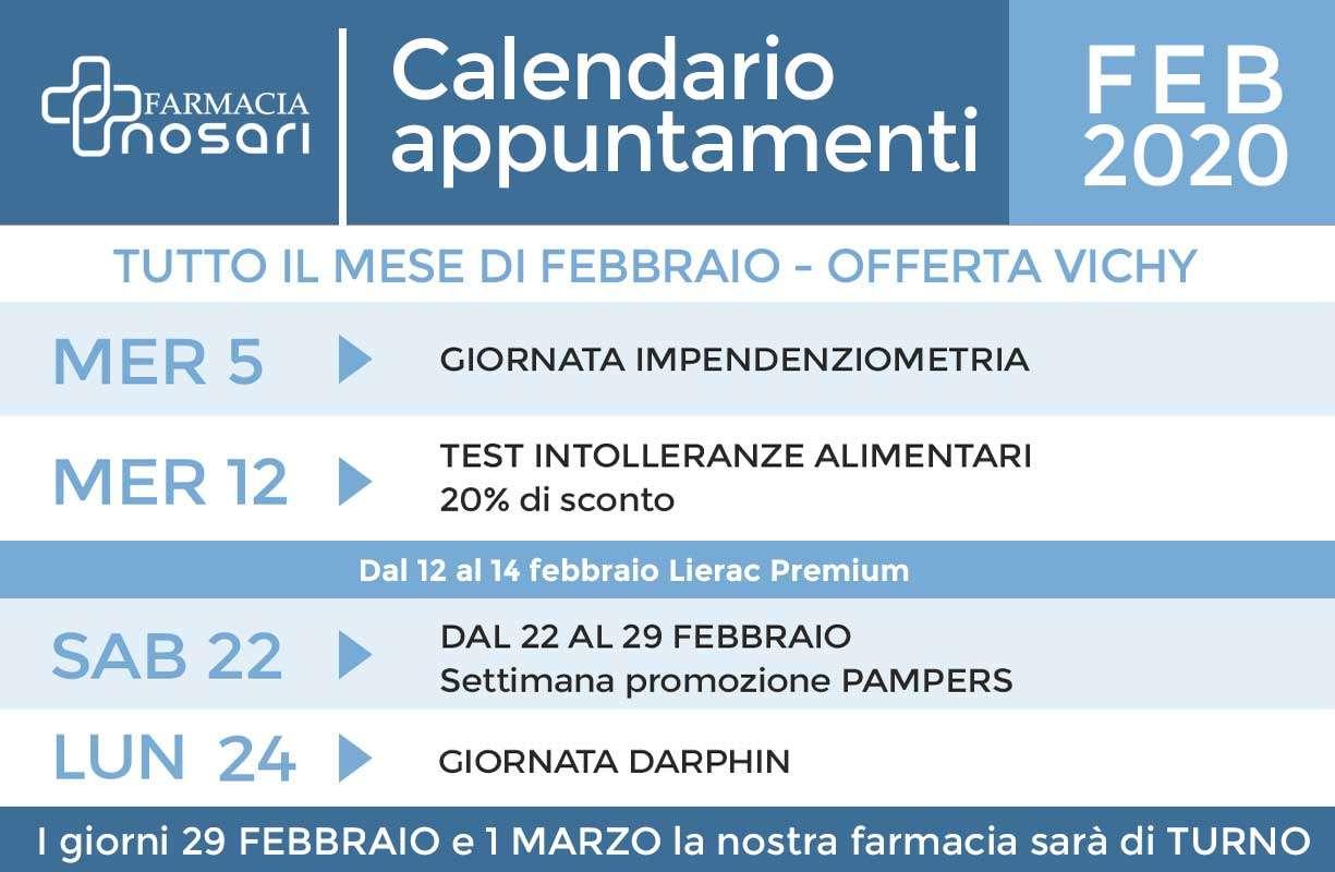 Calendario EVENTI mese di FEBBRAIO in farmacia