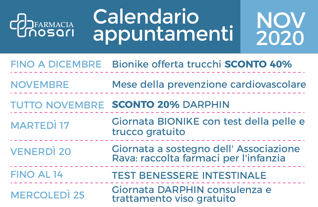 Calendario EVENTI mese di NOVEMBRE in farmacia