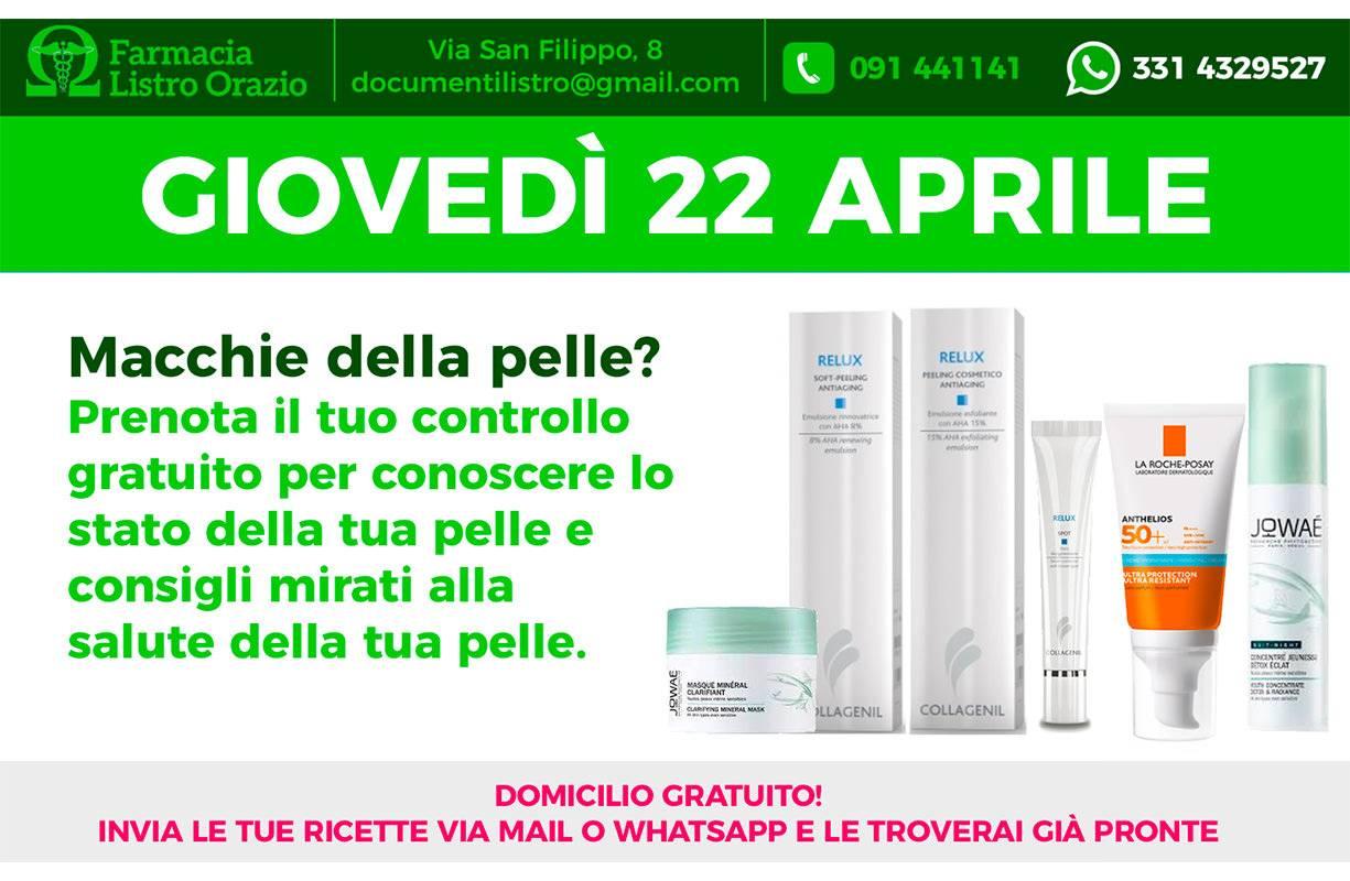 22 APRILE - Macchie della pelle? prenota il tuo controllo gratuito per conoscere lo stato della tua pelle e consigli mirati alla salute della tua pelle