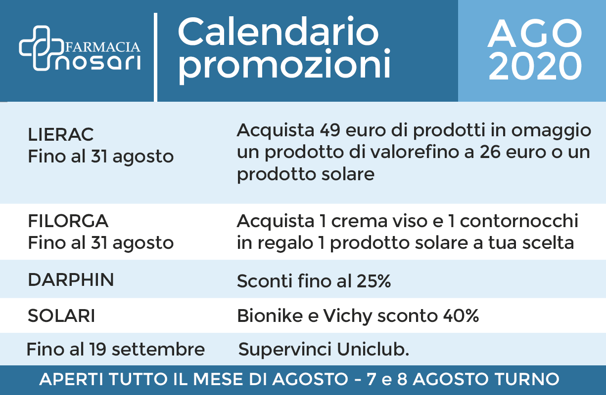 Calendario EVENTI mese di AGOSTO in farmacia