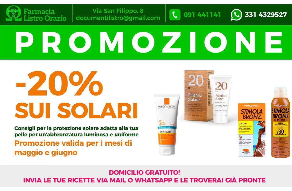 Per tutto MAGGIO e GIUGNO - Promozione -20% sui SOLARI