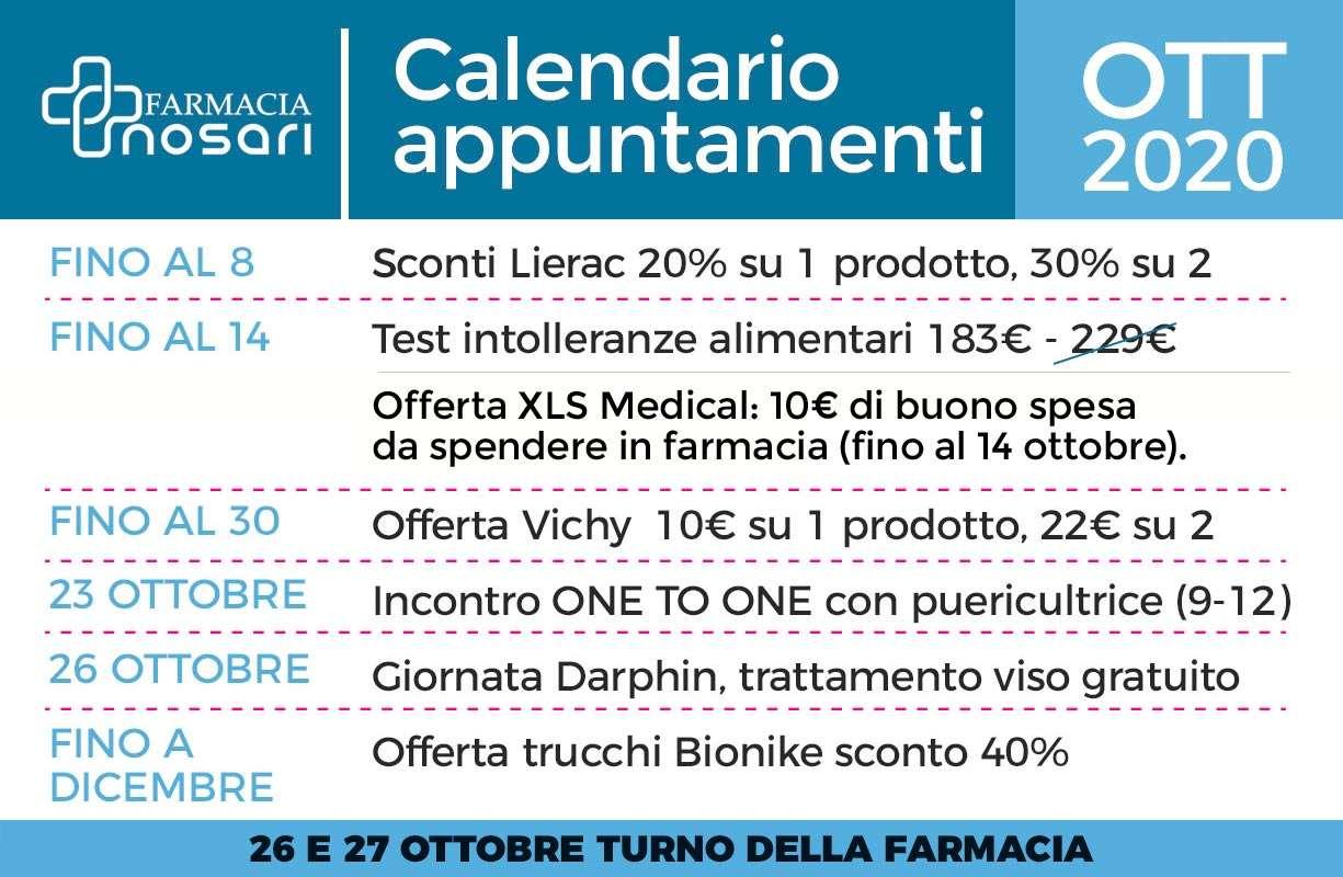 Calendario EVENTI mese di OTTOBRE in farmacia