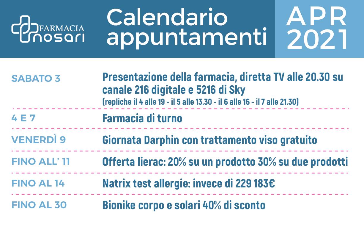 Calendario EVENTI mese di APRILE in farmacia