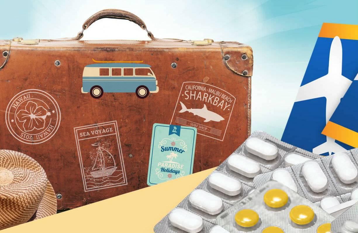 Prepararsi per le vacanze: prodotti per la cura corpo e medicinali, per adulti e bambini da mettere in valigia.