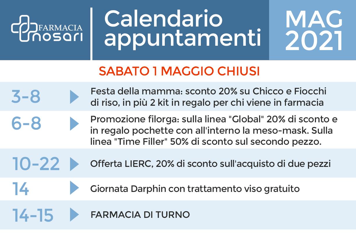 Calendario EVENTI mese di MAGGIO in farmacia