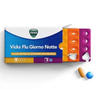 Vicks Flu Giorno Notte 12 cpr giorno+ 4 cpr notte