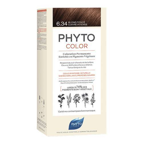 PHYTO PHYTOCOLOR COLORAZIONE PERMANENTE CAPELLI 6,34 BIONDO SCURO RAMATO INTENSO