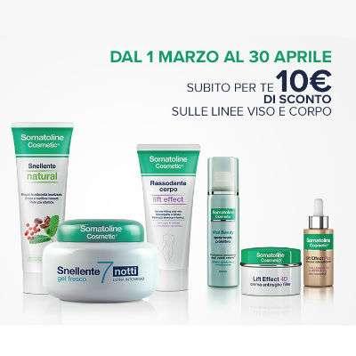 SOMATOLINE 10€ di sconto sulla linea cosmetica viso e corpo fino al 30/4