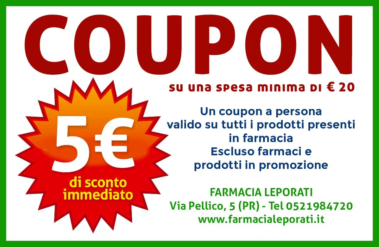 SCONTO di 5€  su una spesa minima di almeno 20€